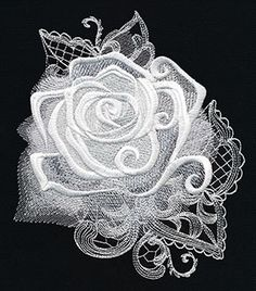Craft spooky decorations for your haunted home! Layers of dimensional swirls, intricate lacy textures, and sheer painterly areas of stitching give this rose design an otherworldly edge.