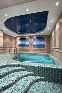 inground pool with raised hot tub tile ideas | Spa – Round, raised ...