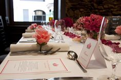 Event Scene Styling. Place cards & menus designed specially to suit the theme (roses)
