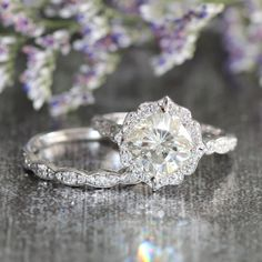 Wedding Set Floral Moissanite Engagement Ring and Scalloped Diamond Wedding Band in 14k White Gold 8x8mm Forever Brilliant Moissanite Ring