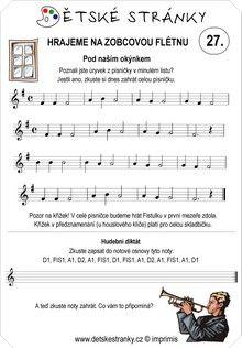 Škola hry na zobcovou flétnu - lekce 27. Sheet Music, Words, Music Sheets, Horse