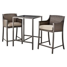 Perfect for back little patio: Threshold™ Casetta Wicker Patio Bar Height Bistro Furniture Set Quick Information