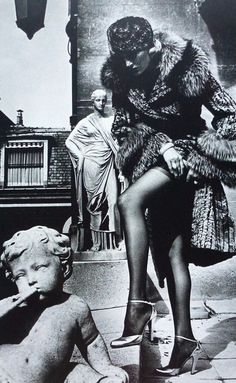 Helmut Newton: Model Winnie Hollmann in French Vogue, 1976. Photographed in Paris.