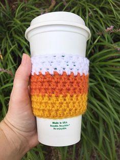 Candy Corn Coffee Cozy // Coffee Sleeve Cup Hug Mug Cozy | Etsy Coffee Lover Gifts, Gift For Lover, Crochet Coffee Cozy, Crochet Cozy, Crochet Fall, Quick Crochet, Crochet Gifts, Mug Cozy, Cozy Coffee