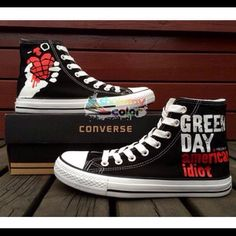 ee090869285f Custom Green Day High Top Converse Canvas Shoes Hand Painted Shoes for  Women Men