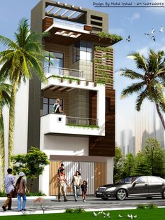 Modern Bungalow Exterior, Modern Bungalow House, Dream House Exterior, Green House Design, Duplex House Design, House Front Design, Narrow House Designs, House Architecture Styles, House Design Pictures