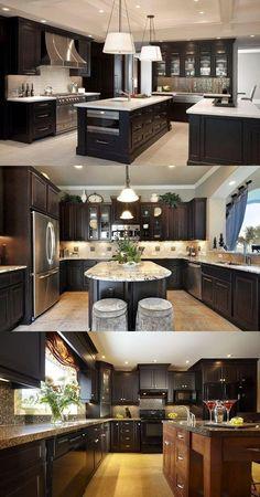 Modern Kitchen Design Decorate Your Kitchen With Dark Kitchen Cabinets Home Decor Kitchen, Rustic Kitchen, Home Kitchens, Diy Kitchen, Order Kitchen, Kitchen Storage, Awesome Kitchen, Dark Kitchens, Vintage Kitchen