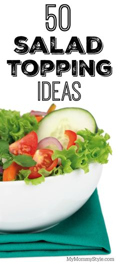 No more boring salads! 50 salad topping ideas to make a healthy, colorful and… Salad Toppings, Salad Bar, Soup And Salad, Meal Prep Bowls, Easy Meal Prep, Healthy Meal Prep, Healthy Eating, Healthy Lunches, Healthy Vegetable Recipes