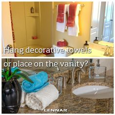 How do you display your decorative hand towels? Hung on a towel bar or placed on the vanity?