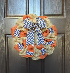 Broncos Burlap Wreath, Broncos Wreath, Denver Broncos Wreath, Brandies Broncos Wreath, Orange and Blue Wreath, UTSA Wreath, Boise State by CarisasCollections on Etsy https://www.etsy.com/listing/240558826/broncos-burlap-wreath-broncos-wreath