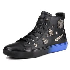 Black Blue Leather Lace Up Punk Rock Hip Hop High Top Boots Men SKU-1280020