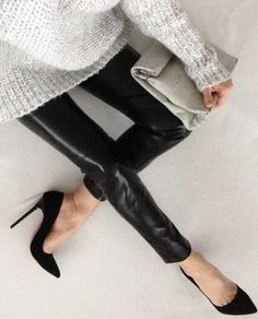 | MODERN + BLACK | #BLACK #leather leggings