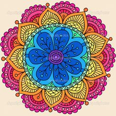Groovy Psychedelic Rainbow Henna Mandala Flower Doodle by blue67 - Imagen vectorial
