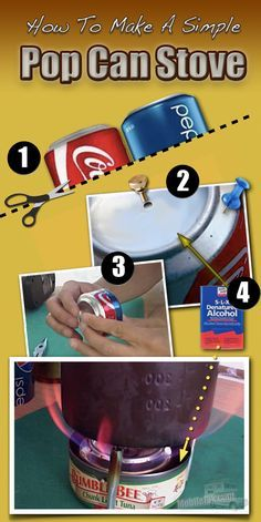How To Make A Simple DIY Alcohol Backpacking Stove From Soda Pop Cans #infographic