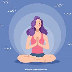 Meditation concept with sporty woman Free Vector Flat Illustration, Digital Illustration, Art Illustrations, Free Characters, Yoga Art, Vector Art, Vector Design, Art Drawings, Aurora Sleeping Beauty