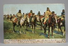 Parade of Comanche Indians on the Reservation