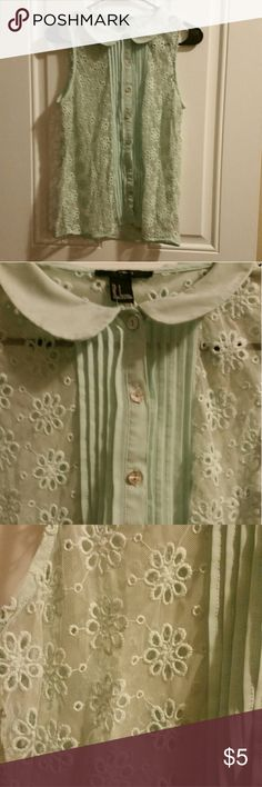 Turquoise peter pan collar blouse Pretty little blouse in excellent condition Tops Blouses