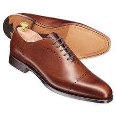 Brown luxury calf wholecut shoes | Calf leather shoes from Charles Tyrwhitt, Jermyn Street, London