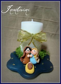 Pesebre Christmas Nativity Scene, Christmas Makes, All Things Christmas, Christmas Candles, Christmas Crafts, Christmas Decorations, Christmas Ornaments, Polymer Clay Figures, Polymer Clay Crafts