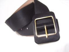 Women's Classic Black Heavy Satin Evening Belt Gold by cachecastle