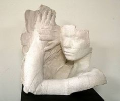 """Plaster Casts with a Message. Inspired by Amercian artist George Segal and his life-size plaster body casts. Working individually or in pairs,  students selected a message or idea or feeling they wanted to express through their sculpture. Meaning should be conveyed through expression and gesture. Extend the lesson by the addition of supplementary items. From """"A Faithful Attempt"""" website."""