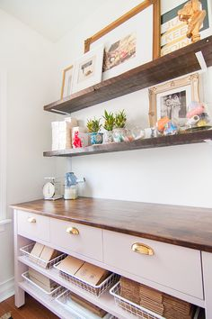 wood top shelves