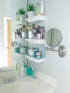 """""""When we purchased our home 11 years ago, I was ecstatic about not having to share a sink with my husband,"""" shares Maria Gonalez of Graceful Order. """"But when I saw the size of the sink [area],I knew I had to get creative!"""" With no space for a cabinet, Maria needed to come up with a storage solution for her bathroom essentials without cluttering the sink.""""I found these small, white shelves meant for decorating, and I knew they were the perfect solution for storing my necessities,"""" she…"""