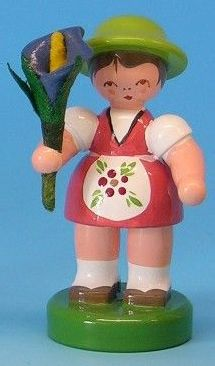 Easter girl from Germany ~ hand carved wooden figure