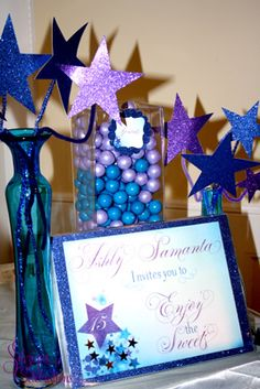 A Star Filled Quinceanera | Custom candy buffet by SDezigns