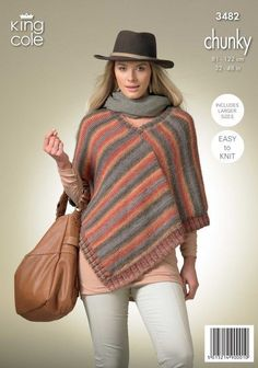 Knitting pattern for Ladies Pointed Poncho in Chunky by King Cole (No. Also includes instructions for Ladies Square Poncho - see photos Poncho Knitting Patterns, Loom Knitting Projects, Knitted Poncho, Knitted Shawls, Crochet Shawl, Knit Patterns, Knit Crochet, Crochet Vests, Crochet Cape