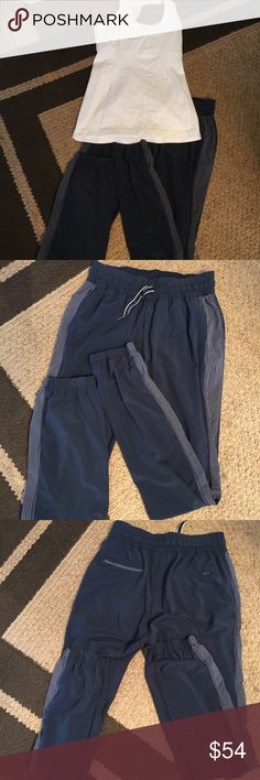 """Lululemon pants gray & white S Could not find a size dot Small Waist 26"""" elastic un- stretch  31"""" inseam lululemon athletica Pants Track Pants & Joggers"""