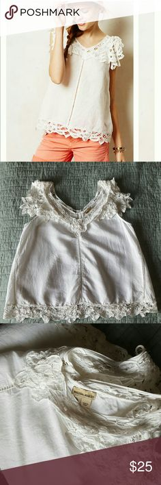 Holding Horses Fluttered Lace Tank Great used condition, just because this top has delicate threadwork on it. I don't see any obvious flaws, but there may be a thread loose here and there from where it originally was. Anthropologie Tops Tank Tops