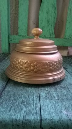 French Art Nouveau Gold Metal Powder Box Ornate by euromercantile
