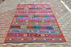 "Vintage Old Anatolian Turkish CICIM Kilim Rug Carpet 60 "" x 96 "" Organic Wool | eBay"