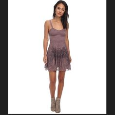 🎉HP🎉Free People purple flocked velvet lace dress Free People flocked velvet lace fit and flare dress. Adjustable straps and side zipper. Dress is purple with lace overlay. Slightly darker purple velvet design on top of lace.                       🎉HP🎉 4/20 best in dresses and skirts!! Free People Dresses