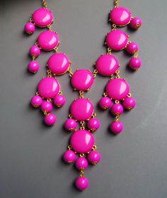 Handmade Bubble Necklace - Bib Necklace- Statement Necklace-dark pink