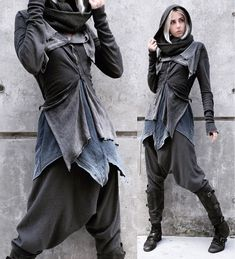 """Goblin Threads - crowrunner: """" Subzero Stealthing 🌨️️Deep in enemy territory, she surveys the tundra wasteland, the frost-laden wind whipping at her hood and shrouding her in mountain mist🌫️️ Everything is second hand or… Source by Khaoswerkstatt - Mode Cyberpunk, Cyberpunk Fashion, Dystopian Fashion, Vetements Shoes, Mode Outfits, Fashion Outfits, Post Apocalyptic Fashion, Post Apocalyptic Clothing, Character Outfits"""