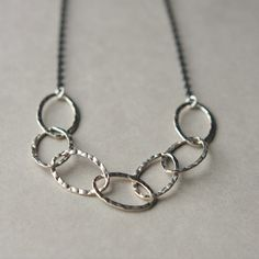 Sterling Chain Necklace, Mixed Metal Jewelry, Hammered Silver Necklace, Oxidized Silver Necklace, Modern Jewelry on Etsy, $40.00