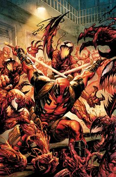 Absolute Carnage vs Deadpool Cover A Regular Tyler Kirkham Cover - Midtown Comics Marvel Comics Art, Marvel Comic Universe, Comics Universe, Marvel Vs, Marvel Heroes, Deadpool Comics, Deadpool Stuff, Chibi Marvel, Comic Book Artists