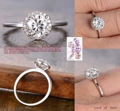 Round Moissanite Engagement Ring Pave Diamond Wedding 14K White Gold 6.5mm