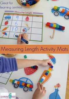 The Measuring Length Activity Mats provide a hands-on opportunity for children to indirectly measure a range of pictures and write their answers on a record Maths Eyfs, Numeracy Activities, Measurement Activities, Math Measurement, Preschool Math, Length Measurement, Math Math, Measurement Kindergarten, Kindergarten Math