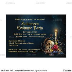 """Skull and Fall Leaves Halloween Party 5"""" X 7"""" Invitation Card"""