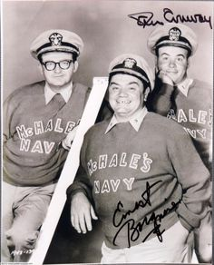"Joe Flynn, Ernest Borgnine and Tim Conway, ""McHale's Navy""The TV series actually was made into two movies before its run on TV was finished. It was remade as a movie again in 1997 with Tom Arnold. Mchale's Navy, Movie Stars, Movie Tv, Ernest Borgnine, Hale Navy, Great Comedies, Abbott And Costello, British Comedy, Old Shows"