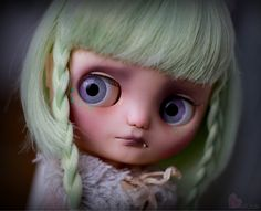 Momos theme is a fussy pastel kitty cat! -Momo is a one of a kind Custom Blythe doll. She is my 103rd custom Blythe doll. -A lot of time, thought,effort, and love went into making Momo. -Momo is originally a stock Melo Melo Middie Blythe doll. -Momo will be packaged securely with care.  WORK DONE: -Face,nose, and philatrum carving. -Face Up done with high quality Schminke & Pan pastels, water color pencils,water color paints, and acrylic paint. -Momo has a very tiny kitty cat tooth. -Momo...