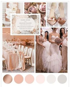 Create the perfect rose gold wedding theme with our simple guide on rose gold wedding ideas, tablescape ideas, invitation designs and what to wear. wedding themes Rose Gold Wedding Ideas and Color Schemes Rose Gold Theme, Gold Wedding Colors, Gold Wedding Theme, Rose Wedding, Wedding Color Schemes, Wedding Themes, Dream Wedding, Wedding Decorations, Wedding Day