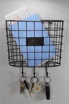 Metal Wire Basket Wall Pocket Mail Holder Organizer with Key Holders | eBay