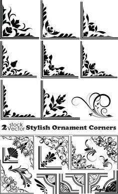 Векторные уголки с декоративными узорами. Stylish Ornament Corners