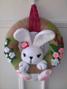 Mesmerizing Crochet an Amigurumi Rabbit Ideas. Lovely Crochet an Amigurumi Rabbit Ideas. Crochet Christmas Ornaments, Holiday Crochet, Easter Crochet, Crochet Wreath, Crochet Rings, Crochet Rabbit, Diy Ostern, Easter Wreaths, Crochet Dolls