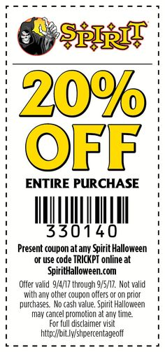 Celebrate Trick-or-Tuesday with savings on your entire purchase today from Spirit Halloween!