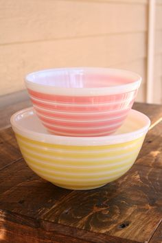 Pyrex pink stripped (402) and yellow stripped (403) mixing bowls; found the set for $3.93